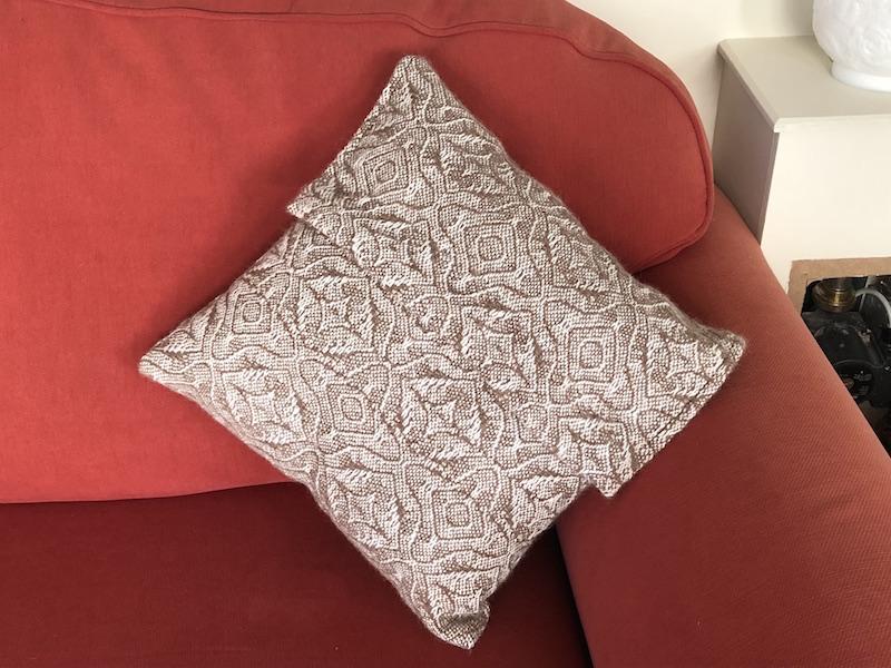 Medium White and Brown Alpaca Cushion