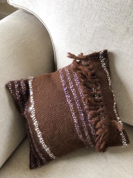 Small Brown and Purple Alpaca Cushion
