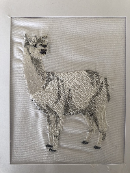 Grey embroidered alpaca greeting card