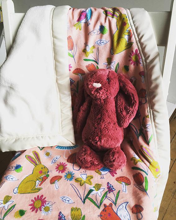Super Soft  Pink Woodland Snuggle Blanket