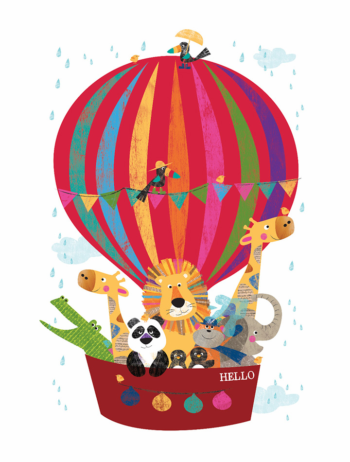 Hello Balloon Jungle Buddies Canvas Print