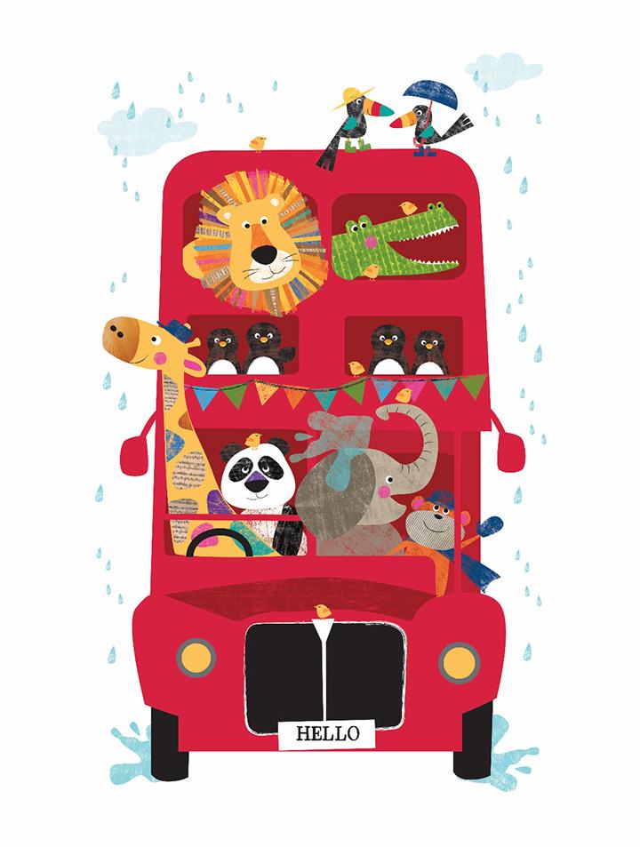 Hello Double Decker Bus Jungle Buddies Canvas Print