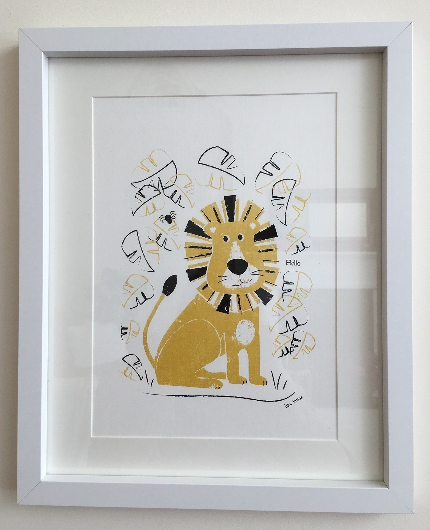 Framed Limited Edition Gold Lion Screen Print
