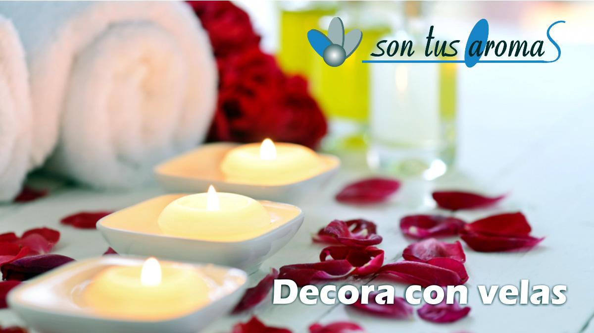 decoracion con velas, velas aromáticas para baño