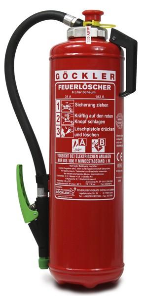 6 Liter Göckler-Schaum-Kartuschen- Feuerlöscher DIN EN 3
