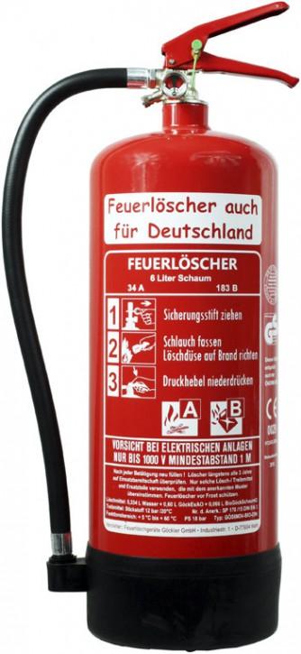 6 Liter Schaum Dauerdruck-Feuerlöscher DIN EN 3
