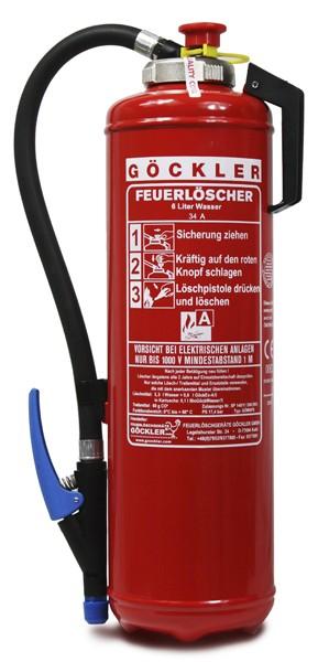 6 L Göckler Wasser -Auflade - Feuerlöscher DIN EN 3 ,