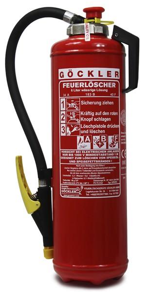 6 L Göckler -Fettbrand-Kartuschen-Auflade- Feuerlöscher DIN EN 3