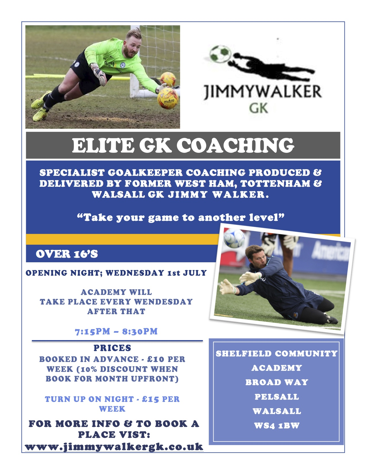 Walsall Elite Coaching Weekly Sessions