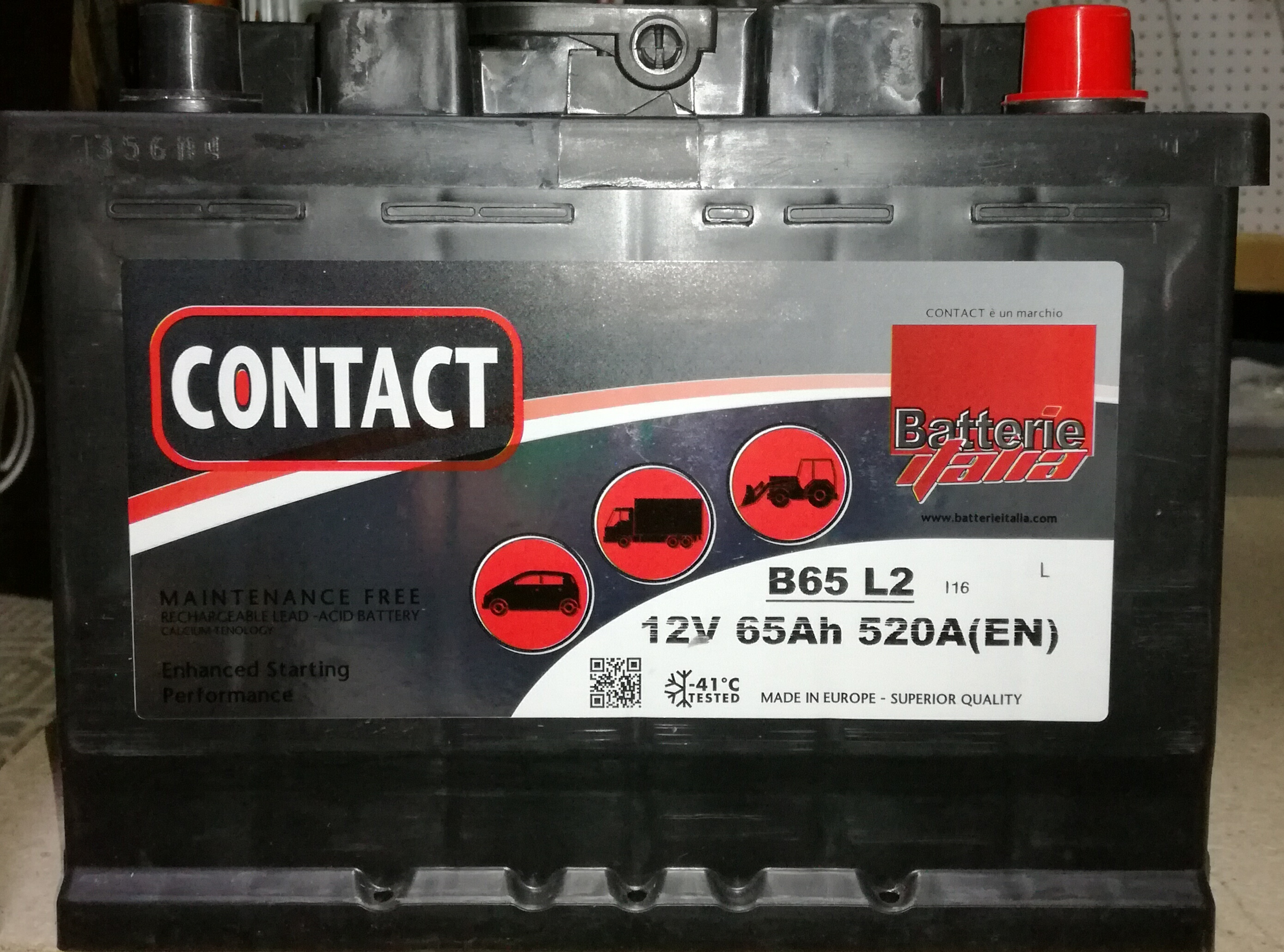 "BATTERIA 12V 65 AH ""BASSA CONTACT"""