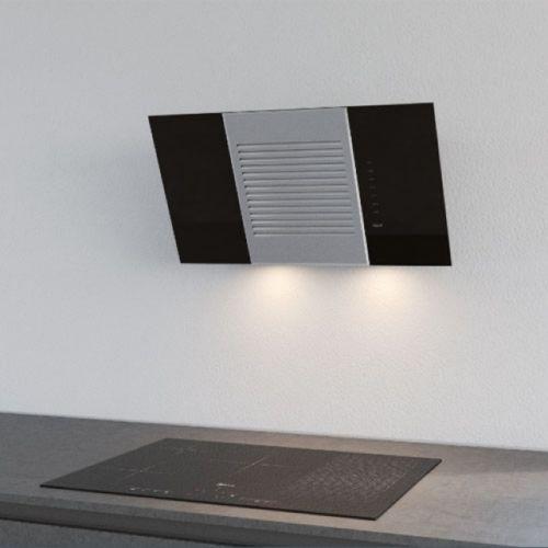 BEST Horizon Wandhaube, Edelstahl + Glas, schwarz, 80 cm
