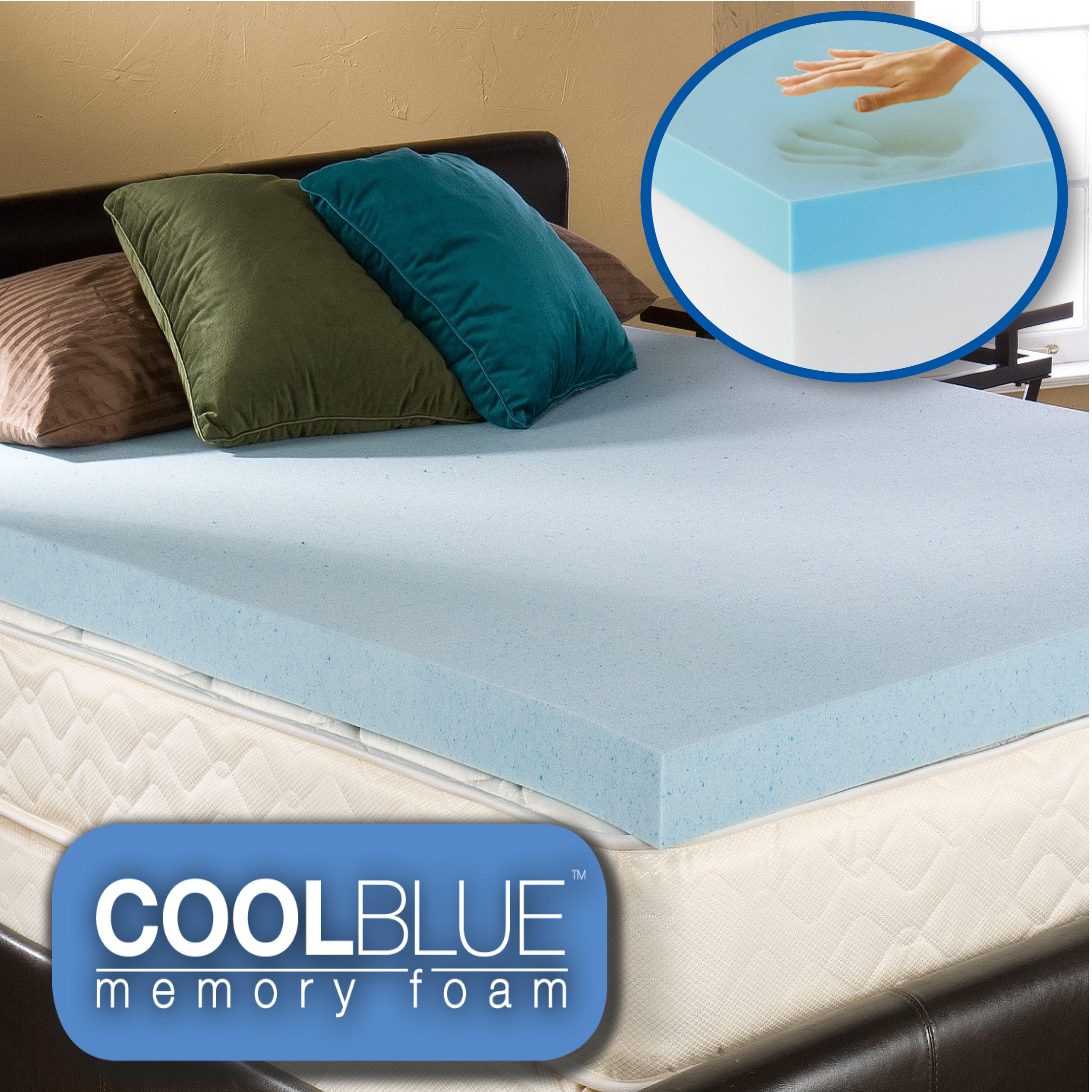 5ft King Size Hybrid Cool Blue Memory Foam Toppers
