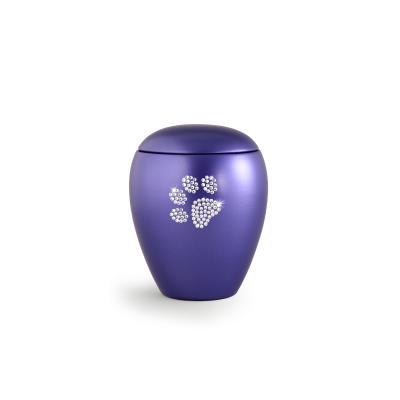 Urne Crystal Ovale Lilas Bleu motif Patte