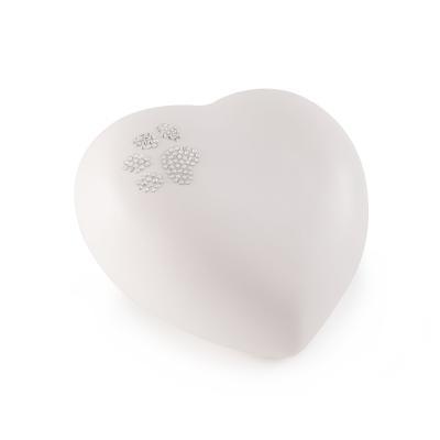 Urne Crystal Coeur Blanc Nacré motif Patte