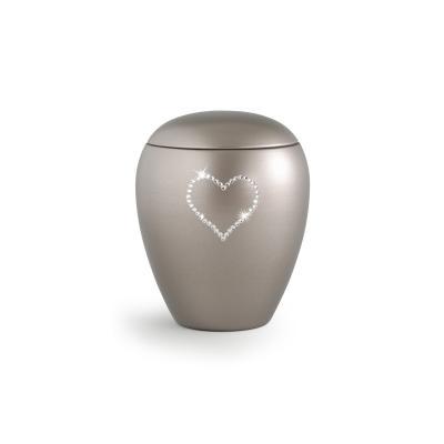 Urne Crystal Ovale Gris Olive motif Coeur