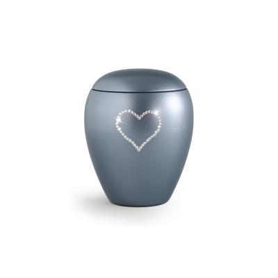 Urne Crystal Ovale Gris motif Coeur