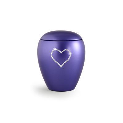 Urne Crystal Ovale Lilas Bleu motif Coeur