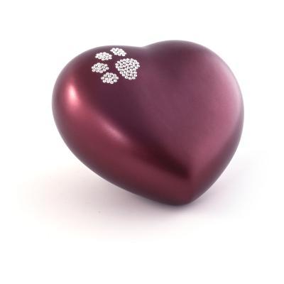 Urne Crystal Coeur Rouge motif Patte