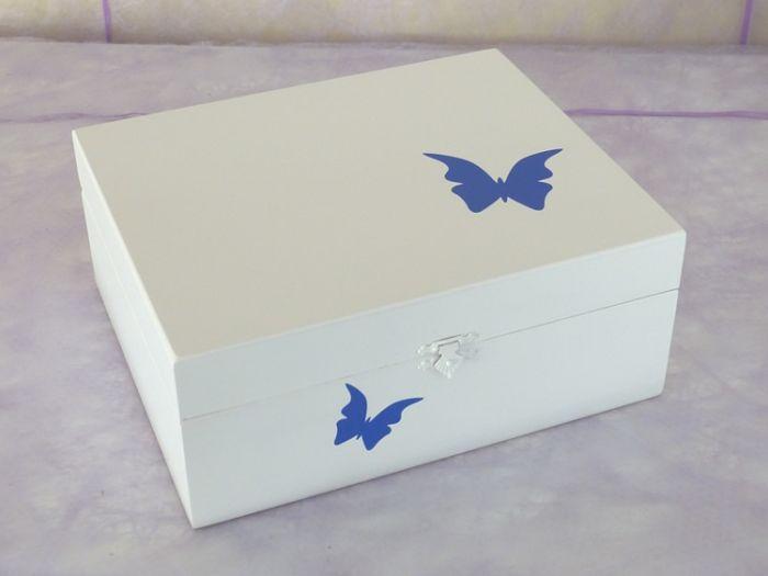 Urne en Bois Coffret Blanc Décor Double Papillon Bleu < 50Kg