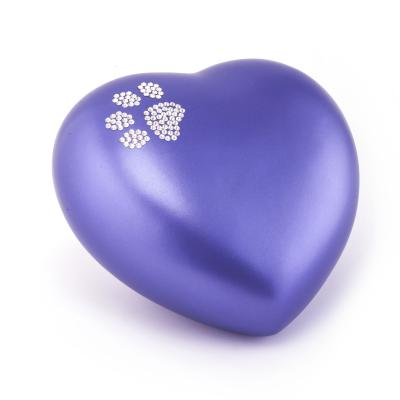 Urne Crystal Coeur Lilas Bleu motif Patte