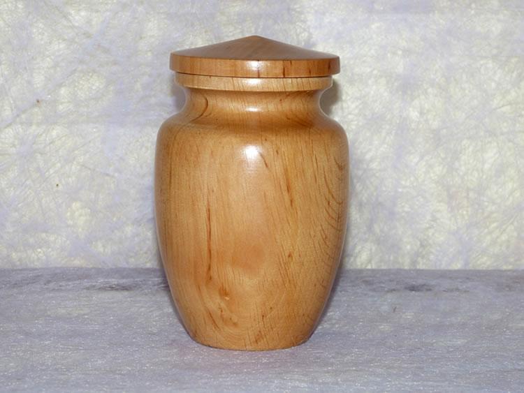 Mini urne funéraire en bois naturel < 3 kg