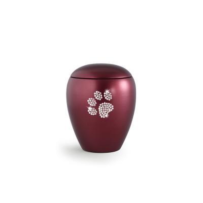 Urne Crystal Ovale Rouge motif Patte