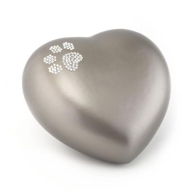 Urne Crystal Coeur Gris Olive motif Patte