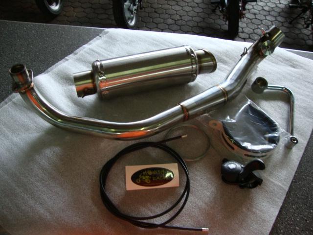 Kepspeed Auspuff mit Klappensystem untenliegend VA für Dax/Monkey und ZB/PBR mit einstellbarem Sound (per Bowdenzug vom Lenker aus) ovaler Endtopf  279,50 EUR